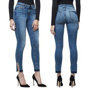 GOOD AMERICAN Good Legs High Rise Split Hem Crop Skinny Jeans 4 / 27